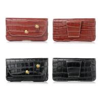 Wholesale Horizontal Leather Case Clip Belt - Fashion Crocodile Hip Horizontal Holster Leather Clip Case For Iphone 7 Plus 6 6S 5 SE Galaxy S7 S6 Edge Snake Waist Belt Flip Cover Pouch