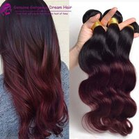 Wholesale Dark Wine Color Hair - Fashion Ombre Hair Extensions Dark wine 99j Body Wave 3 pcs Two Tone Color 100% Human Hair Weaves T1B 99j