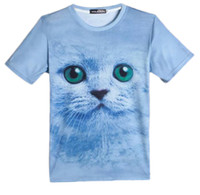 sx animais venda por atacado-Único casual em torno do pescoço T-shirt para o homem meninos novidade Men T shirt 3D gato bonito impressão de manga curta SX-034