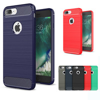 Wholesale Brushed Iphone Case - Carbon Fiber TPU Case Hybrid Armor Cases Shockproof Brushed Back Cover For iPhone X 8 7 6 6S Plus 5S Samsung S7 edge S8 Plus Note 8