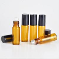 perfumes de 5ml venda por atacado-Venda quente 1200 pcs 5 ml rolo de âmbar em garrafas de rolo para óleos essenciais de vidro refilable frascos de perfume desodorante garrafa com tampa preta