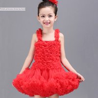 Wholesale Girls Pageant Costumes - Baby & Kids Clothing Girls' Dresses wedding flower girl 2017 vintage Costume Tutu Child skirts party gowns Tulle red white pageant dress