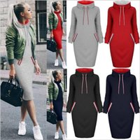 Wholesale Ladies Tops Long Hip Length - Dresses Hooded Hip Dress Lady Winter Long Sleeve Dress Casual Fashion Tops Leisure Hot Selling Solid Dress Vestidos Women's Clothes B3443