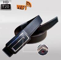 Wholesale Hidden Camera Real - 720p HD Men leather belt wireless SPY hidden camera Fation Belt wifi camera surveillance camera Spy Cams real time monitoring