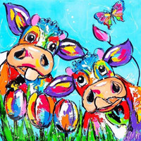 Wholesale cow paintings - DIY 5D Diamond Painting Cartoon Cow Part Square Rhinestones Cross Stitch Diamond Embroidery Painting Wall Sticker for Home Decor