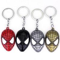 Wholesale Spider Man Head - Movie Series Keyring DC Comics Superhero Cool Spider man Head Zinc Alloy Pendant Keychain 4 Colors Free shipping