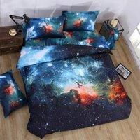 cama de espacio reina al por mayor-Al por mayor-3D Galaxy juego de cama Twin / Queen Size Universo Espacio exterior Colcha temática 2pcs / 3pcs / 4pcs Ropa de cama Sábanas Funda nórdica