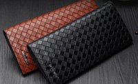 Masculino long slim homens Woven carteira no dia longo Han Chao Leather Mens juventude Retro Leather Wallet 012