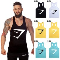 Wholesale Solid Tank Tops - 2016 Fahion Brand GYM Shark Euramerica Tank Tops For Men Bodybuilding Mens Muscle Tanks Tops Fitness Stringer Cotton Vest Shirts