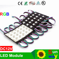 Wholesale Rgb Ip67 - New Arrival 5050 SMD 3LEDS RGB Injection LED Modules with Lens DC 12V Waterproof IP67 Advertising Light