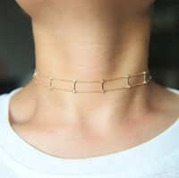 Wholesale Pendant Guarantee Sterling - guarantee 100% 925 sterling silver short chain chocker double chain link bar 18k gold plated elegant choker necklace