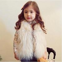 Wholesale 5t Girls Fur Coats - INS Baby girls Fur Warm Waistcoat Kids Winter Warm vest children coat 5 colors C2973
