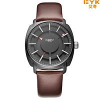 Wholesale Eyki Watch Leather Male - 2017 Top Brand Luxury Quartz-watch Eyki Famous Quartz Mens Watches Clock Leather Strap Male Wristwatch Relogio Masculino Reloj Business