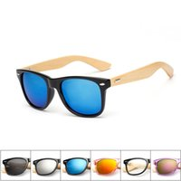 Wholesale Wholesale Mirrors For Sale - Bamboo Wood Frame Sunglasses for Men Women Classic Colored Film Hot Sale Eyeglasses Radiation Protection Fashion New Arrival 22 Colors