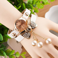 Wholesale women bow watches for sale - Group buy Bow Pearl Pendant Bracelet Watch Fashion Women Relojes Quartz Analog Watch Bow Tie Bracelet Pearl Dial Wrist Watches Multi Color