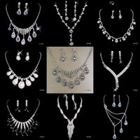 Wholesale Earrings Rhinestone Dropping - 9 Style Generous Bridal Jewelry Crystal Rhinestones Bride Prom Wedding Jewellery Sets 2016 Necklace Drop Earrings Bridal Accessories New