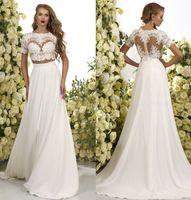 Wholesale short two piece wedding dresses - 2017 Romantic Two Pieces Bohemian Wedding Dresses Lace Crop Chiffon Sweep Train A Line Beach Boho Bridal Gowns