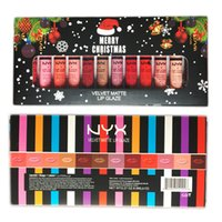 Wholesale Merry Christmas Boxes - New Lip Makeup NYX Merry Christmas lipstick lip gloss set and Flower Velvent Matte Lip Glaze lipstick big box for Chrstmas gift