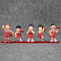 Wholesale Slam Dunk Shohoku - 7-7.5cm SLAM DUNK Shohoku Rukawa Kaede 5pcs set PVC Action Figure Collectable Model Toy for kids gift free shipping retail