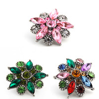 Wholesale Red Charm Packs - Pack Of 20pcs 18mm Metal Snap Button Charm Rhinestone Styles Interchangeable Rivca Snaps Jewelry NOOSA Chunk 3 Color E633E