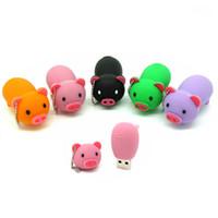 Wholesale Souvenirs Pens - Animal USB Stick Pig Shaped 8GB 4GB USB Flash Drive Pig Pen Drive For Zoo Giveaways Souvenirs