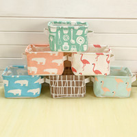 Fabric Clothing Eco Friendly Home Storage Cube Basket Linen U0026 Cotton Fabric  Desk Organizer For Office