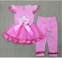 Wholesale Dress Tutu Skirt Leggings - 80-120CM Christmas crown printing bow short-sleeved dress Net yarn skirt + leggings Summer trousers E580