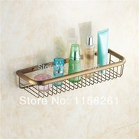 Wholesale Finish Bolts - 45cm Wall Mounted Antique finish Strong Brass Made Square Single Tier Easy Installation Bathroom Shelf Bathroom Basket KH-1067