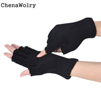 Barato Luvas Pretas Fingerless Malha-Atacado- ChenaWolry 1PC 100% Brand New Acessórios de Moda Men Black Knitted Stretch Elastic Warm Half Finger Fingerless Gloves Oct 12