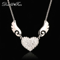 Wholesale Wing Heart Necklace Diamond - Love Angle Wings CZ Diamond Necklaces & Pendants Platinum Plated Fashion Brand Vintage Jewelry Jewellery For Women Chains DFN018