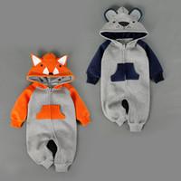 Wholesale infant fox clothing - NEW 2 Design infant Kids Winter Cashmere Romper Bear Fox long sleeve baby warm Climb clothe boy girls Winter Rompers set RMY40