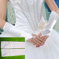 Wholesale Wholesale Satin Beads - Wholesale-Free shipping Elastic Satin Long Elbow Fingerless Wedding Bridal Gloves Double Bead Design Hot Drop shipping