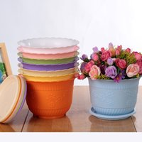Wholesale Garden Potting Tray - Plastic PP Resin Garden Durable Pot Wavy Lace Design Breathable Planters Simple Corrosion Resistant Flowerpot With Tray 0 66xy B