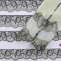 Wholesale 3d Decor For Nails - Wholesale- Bluelans Fashion 3D Black Lace Design Nail Art Stickers Decals For Nail Tips Decor Manicure Tool AS9 7GSW