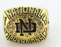Wholesale White Gold Enamel Rings - 1988 Notre Dame Fighting Irish National Championship Ring Enamel Crystal Gold Pleated Ring Men ring