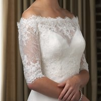 Wholesale Evening Dress Gold Bolero Jacket - Half Sleeves Bridal Accessories Softer Lace Applique Beading Wedding Evening Jackets Bolero For Prom Dresses Bridal Dress