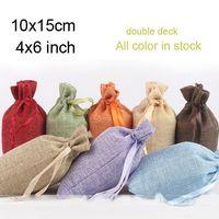 "Wholesale Purple Silk Gift Bags - Flax Gfit Bags Ribbon Drawstring 10x15cm (4""x6"") Jute Burlap Jewelry Pouches Rustic Wedding Gift Favor Holder"