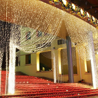 Wholesale Outdoor Waterfall Led Light - 300 600 800 1000 leds Waterfall Outdoor Christmas Xmas LED String Fairy Wedding Event Curtain Holiday Light 220V Home Garden Clubs Hotels