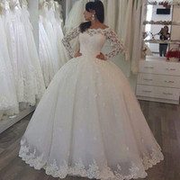 Wholesale Illusion Wedding Dress Fall - 2017 Winter Style Lace Muslim Wedding Dress Illusion Arbic Vintage Long Sleeve Ball Gown Vestido de Noiva Custom Made Princess Bridal