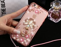 Wholesale Diamond Bling Heart Iphone - Luxury Bling Diamond Ring Holder case crystal flexible electroplated TPU case for iphone 6 6S Plus 5S SE Clear Case Peacock Heart Holder