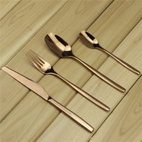 Wholesale Stainless Steel Cutlery Set Wholesale - Aoosy 4pcs set Dream Spoon Fork Knife set Rose Gold Stainless Cutlery Flatware Lovers Love Candlelight Dinner Tableware