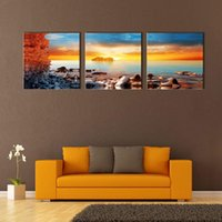 Three-picture Combination paintings of oceans - 3 Picture Combination Wall Art Painting For Home Decor On Rock Beach Of Morning Light Blue Ocean For Living Room Decoration