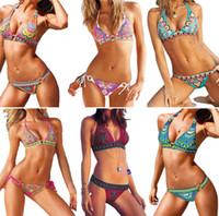 super badeanzüge großhandel-Super Sexy Indiana Totem Bandeau Gepolsterte Bikini Set Boho Stil Sexy Frauen Beachwear Badeanzug 6 Farben S-XL