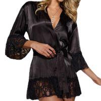 Wholesale Satin Babydoll Chemise - Wholesale- New 2017 Women Sexy V Neck Satin Lace Lingerie Sleepwear Dress Strappy Nightgown Black Babydoll Nightdress Chemise De Nuit F2