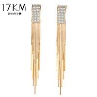 Wholesale Bar Drop Earrings - 17KM Brand New Gold Color Long Crystal Tassel Dangle Earrings for Women Bar Wedding Drop Earing Fashion Jewelry Gifts