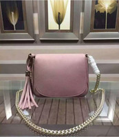 Wholesale Quality Saddles - new genuine leather Women messenger bags high quality shoulder bag mini chain real leather saddle bag with tassel 323190
