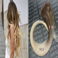 Wholesale 26 Inch Tape Hair Extensions - Ombre Tape In Hair Extensions Human 100G Virgin Peruvian Straight Remy Hair 40Piece PU Skin Weft Tape in Human Hair Extensions color #18 613