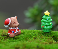 Wholesale Kids Plastic Gardening Toys - Resin Christmas Bear Trees Fruit Anime Figures Miniature Fairy Garden Figurine DollHouse Miniatures Kids Toys DIY Accessories