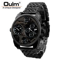 Wholesale Antique Military Buckles - 2016 Oulm Luxury Brand Men Full Steel Watch Mens Sport Quartz Watches Antique Male Casual Clock Military Watch Relogio Masculino