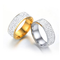 Wholesale MGFam R Row Lines Clear Crystal Jewelry Fashion Engagement Rings Stainless Steel L No Change Color